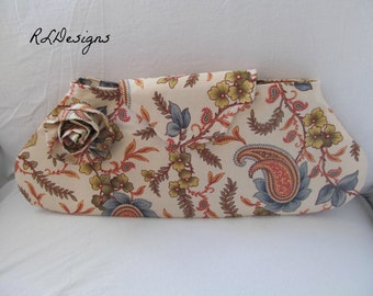 Vintage Inspired Clutch Purse Tote- Medium- Paisley and Floral- Amy Butler Pattern