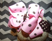 Hairbow Pink and Brown Dot Double Layered Boutique Bow and Interchangeable Headband Newborn Toddler Older Girl