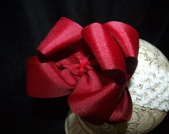 Hairbow Burgandy Double Layered Boutique Bow and Interchangeable Headband Newborn Toddler Older Girl