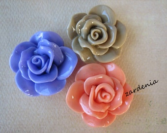 3PCS - Begonia Cabochons - Glossy - 30mm - Coral, Periwinkle and Latte - Cabochons by ZARDENIA