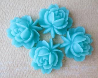 4PCS - Rose Flower Cabochons - Resin - Aqua - 17x18mm Cabochons by ZARDENIA