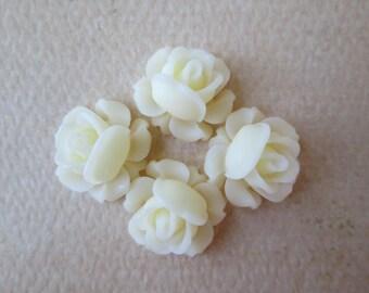 4PCS - Mini Cabbage Rose Flower Cabochons - 12mm - Resin - Vanilla