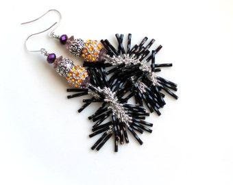 Rave earrings / black rhinestone orange / purple czech  / black fringe earrings / sparkling long earrings  FREE domestic SHIPPING diva gift