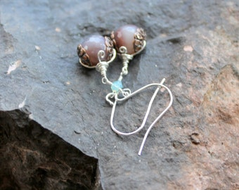 Agate earrings / brown polished faceted sterling silver wrapped earrings / copper filigree caps gemstones swarovski / wire wrapped earrings