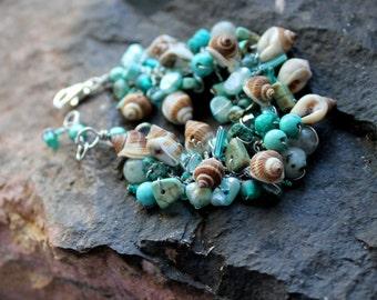 ocean mint beaded bracelet / adjustable teal handmade beachy shell / wrap jewelry