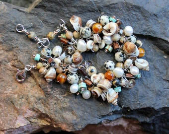 earth study wire wrapped bracelet / seashells / heishi shells /dalmation jasper / czech glass beads / white pearls / adjustable gift