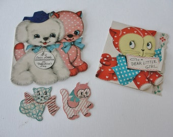 Vintage Valentine Cards Valentines Day Cards Sweet Vintage Puppy and Kitten Cards for Little Girls, set of 2