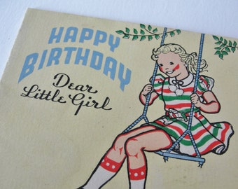 Vintage Birthday Greeting Card, 1940s Vintage Storybook Birthday Card, Cute Little Girl on Swing Story Card