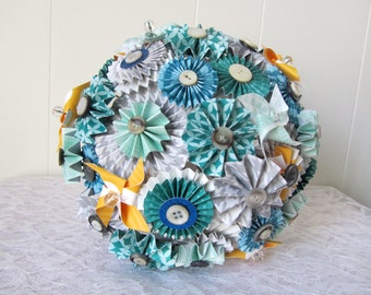 Paper Rosette Fan Wedding Bouquet & Boutonniere Set: Made to Order