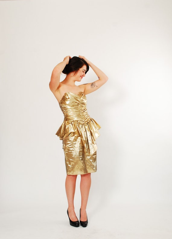 1980s Party Dress - 80s Dress - Gold Lame
