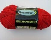 Novelty Yarn, JoAnn Sensations Enchantment Red Metallic Color K150, Sparkly, Glitter, Worsted Vegan, Acrylic Polyester Blend, 1 skein