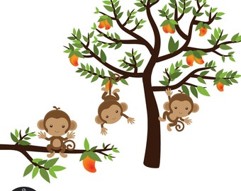 Monkeys on a Mango Tree - Digital Clip Art