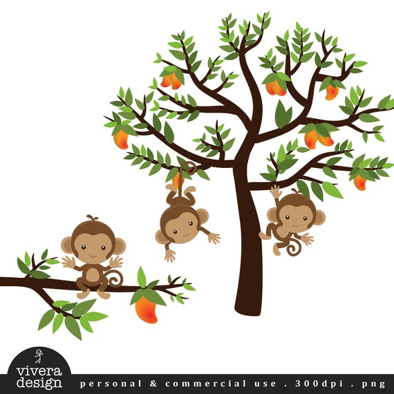 Items similar to Monkeys on a Mango Tree - Digital Clip Art on Etsy