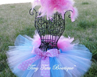 COTTON CANDY-soft pink, blue, and white feathered baby/child tutu with hairpiece:  Newborn-5T
