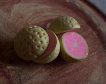 Pink Grapefruit - Polymer Clay Grapefruit Half Beads - 22mm - 4 beads
