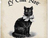 Le Chat Noir animal france halloween moon witch fly graphic art print iron transfer gift tag label napkins burlap pillow Sheet n.433