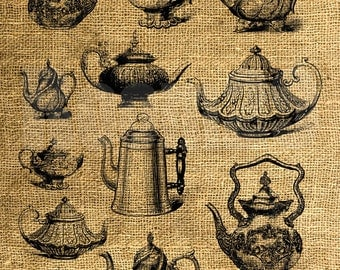 INSTANT DOWNLOAD - Tea and Coffee Pots Vintage Illustrations - Download Image Transfer Digital Collage Sheet by Room29 Sheet no. 856
