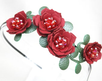 Bridal hair flower headband red headband wedding hairpiece leather headband with crystal beads woodland wedding prom wearable art