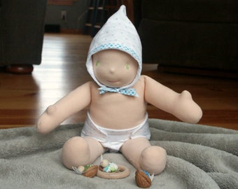 Instant PDF download Waldorf doll tutorial Easy Waldorf Doll diaper and bonnet layette sewing pattern and tutorial