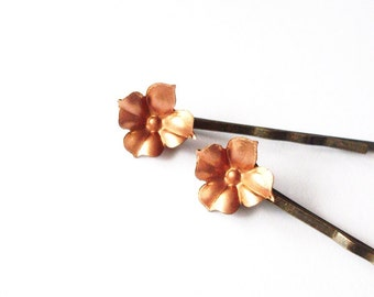 LAST ONE Hydrangea Flower Bobby Pins Copper Hair Clip Bride Bridal Bridesmaid Nature Rustic Woodland Wedding Accessories Womens Gift Spring