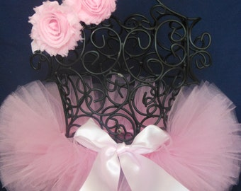 Newborn Pink Tutu w/shabby flower pink stretch headband...by I Love You Tutu Much