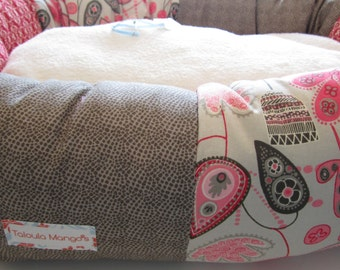 the AUGUST BOATWRIGHT Donut Dog Bed- Pink, Gray, Dots, Last One!