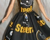 """Handmade 11.5"""" fashion doll clothes - Black and gold steelers  dress"""