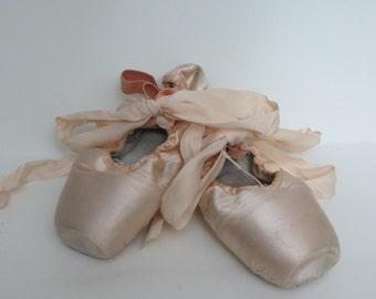 Vintage Pink Ballet Toe Shoes for Decoration-Nursery-Bedroom-Satin-Pink-Shabby Chic