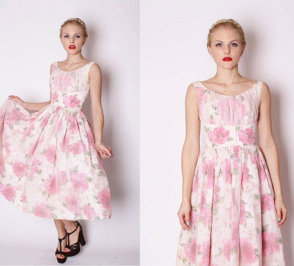 Vintage Wedding Dresses Etsy: 1950s Vintage Pink Rose Wedding Dress / Vintage By Aiseirigh