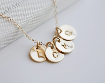 Four Initials GOLD Fill Necklace, Customize Monogram Necklace, Simple daily jewelry,Wedding Jewelry, Best friends Necklace, Mothers Jewelry