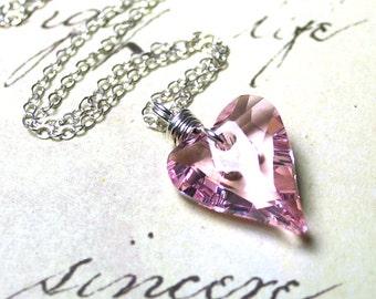 Swarovski Crystal Wild Heart Pendant in Rosaline Pink - Handmade with Swarovski  Crystal and Sterling Silver