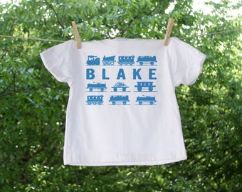 Trains, Trains, and More Trains Personalized Name Shirt