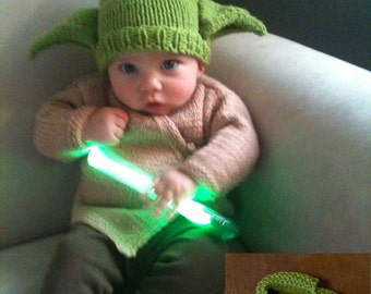Knitted Green Yoda Like Hat and Brown Jacket Set With Yoda Slippers READY TO SHIP