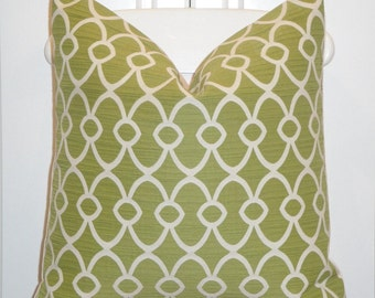 Decorative Pillow Cover  -  Accent Pillow - Throw Pillow - Geometric - Lattice - Lime Green