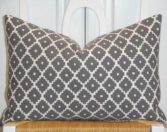 Schumacher - Ziggurat in Charcoal - 12 x 18, 12 x 20 - Decorative Pillow Cover - Geometric - Lumbar Pillow