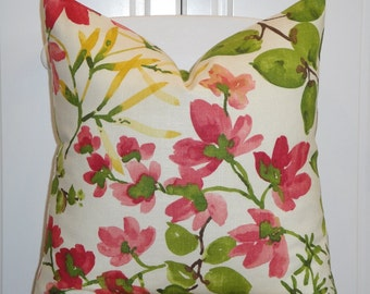 BOTH SIDES - Beautiful Decorative Pillow Cover - Floral - Raspberry - Pink - Yellow - Green