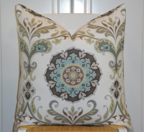Pale Yellow Decorative Pillows : Suzani Decorative Pillow Cover Aqua Blue Grey Brown