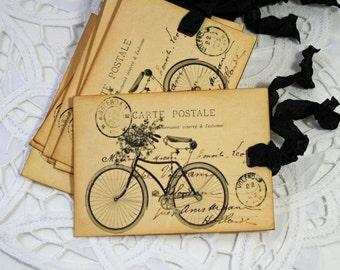 Handmade Gift or Hang Tag Bicycle Post Card Vintage Style