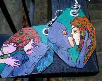 Comic Book Villainess Lesbian Lovers - Catwoman & Poison Ivy - hand-painted earrings