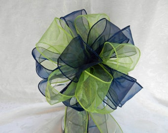 Wedding/ Pew Bows set of 10 Navy Blue and Lime Green