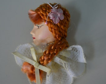 Vintage 80s Lady Belle Epoque Head Face Braided Hair Figurine Flapper Pin Brooch