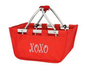 Red market tote with personalized embroidery- great Easter basket