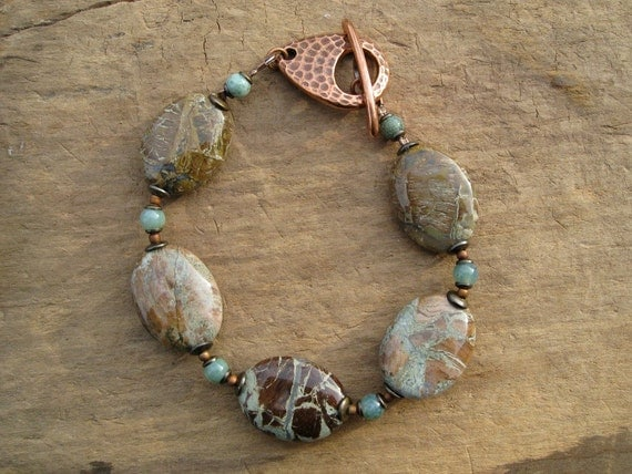 Rustic Brown Green Bracelet, copper, mint green and brown Bohemian stone jewelry with African onyx and jasper