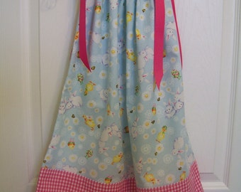 Easter /Chickens, Bunnies and Checks Pillowcase Style Dress