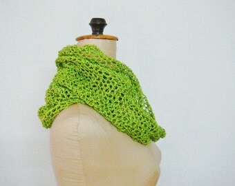 Green Crochet Infinity Loop Scarf Cotton Summer Scarf