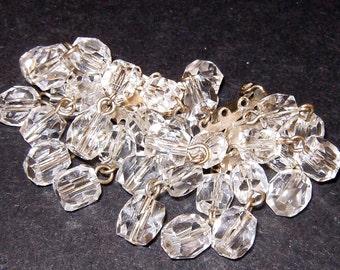 Vintage Clear Crystal Beaded Dangle Earrings