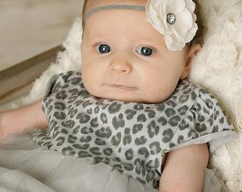 gray baby girl headband, newborn headband, baby headband, pink small flower headband