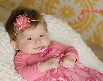 baby headband, newborn headband, pink baby headband, veil