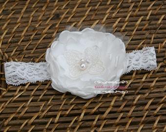 baptism headband, christening headband, baby headband, flower girl hair accessori