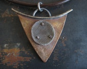Men's necklace, Mixed metal pendant on a dark brown leather cord - whatsNew